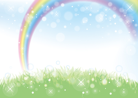Rainbow and meadow background material 02