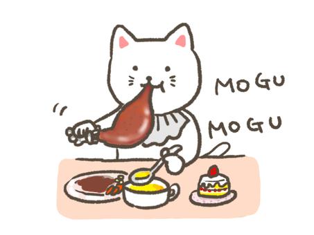 A cat that eats chicken