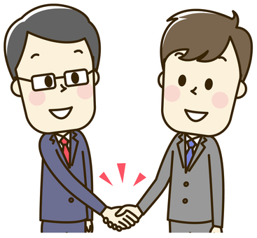 Male's of a suit employee 2-1-2 handshake
