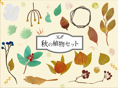 Seasonal material 01 Autumn plant set