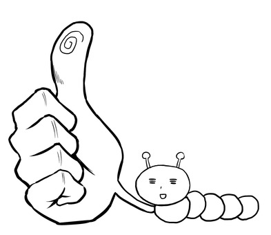 A caterpillar that thumbs up
