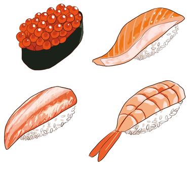 Handful sushi red