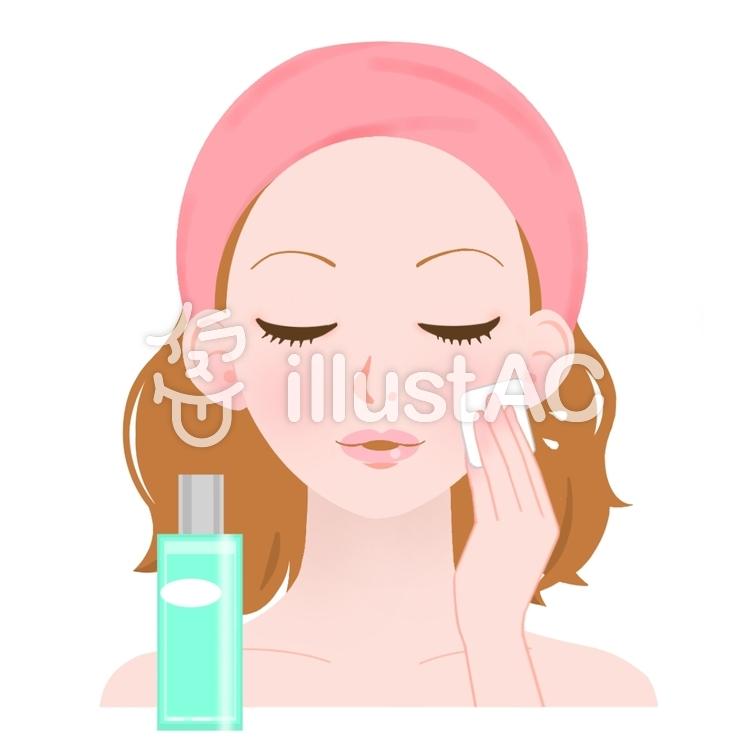 基礎化粧⑤ 化粧水2 コットンでつけるイラスト No 399820無料