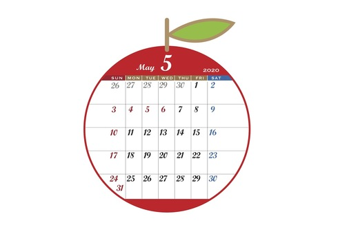 2020 Calendar Apple Red May
