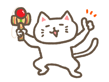 A cat with a kendama