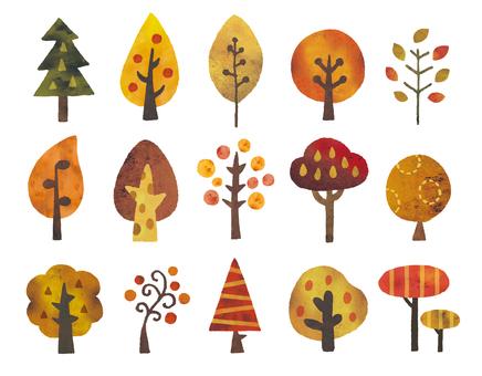 秋の木北欧風水彩