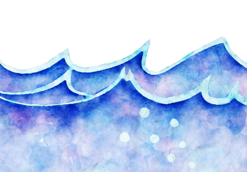 Simple wave watercolor painting
