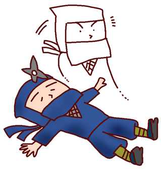 Illustration of a ninja defeated in battle