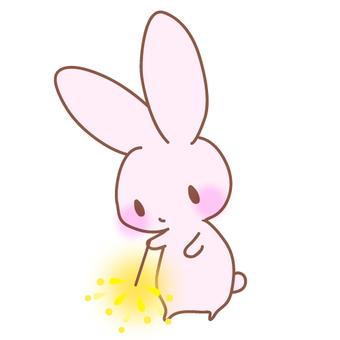 Illustration of a rabbit wearing fireworks