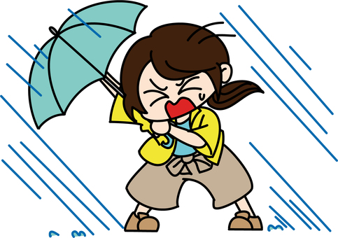 Woman struck by heavy rain