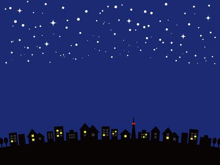 Night sky cityscape starry sky