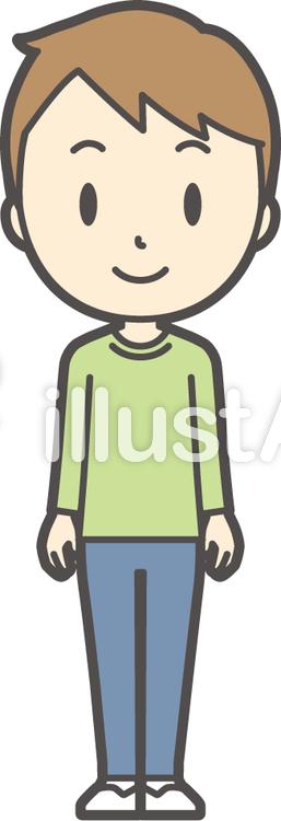 男の子グリーン長袖-271-全身のイラスト