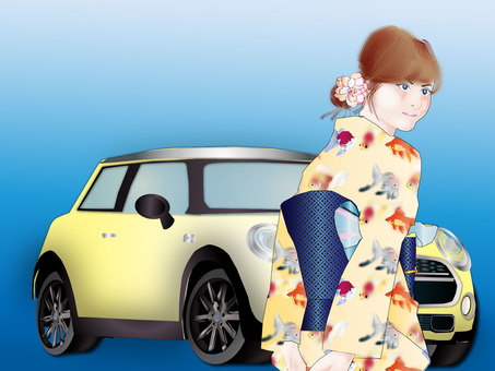Yukata women and car 02