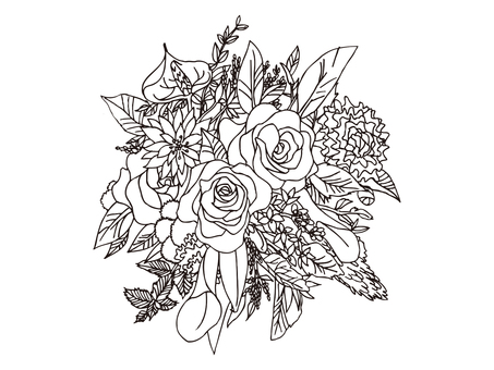 Line drawing bouquet