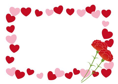 Carnation and heart frame
