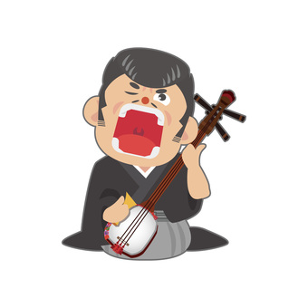 Male playing a shamisen (half)