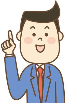 Male salaryman finger pointing