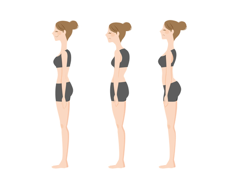 Women with good posture and bad posture