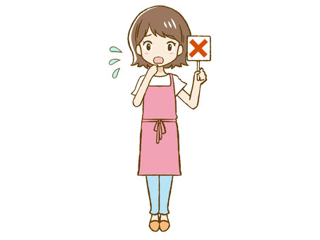 Apron woman giving a cross sign ③