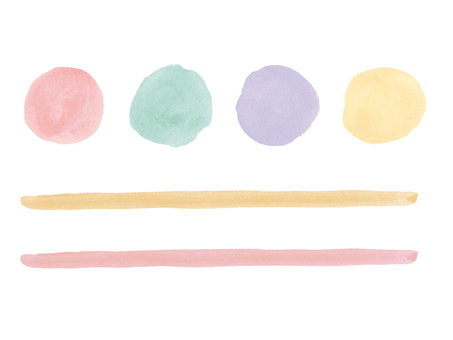 Watercolor circle and line