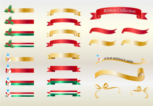 Ribbon heading (Christmas color)