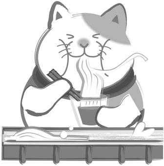 수묵화 고양이 - 나가시 소면