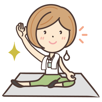 Yoga coach sweating
