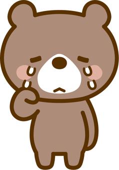 A bear shedding tears