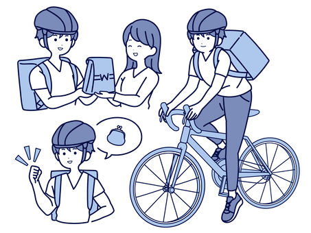 Men who earn by bicycle delivery