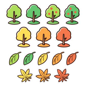 木と葉っぱのセット