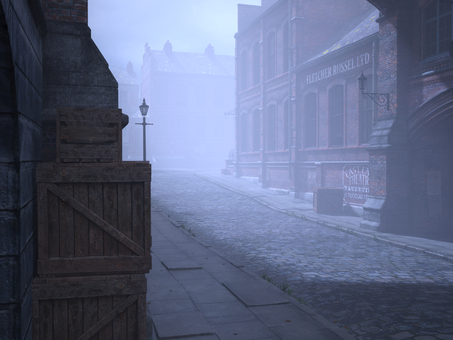 Landscape of old London streets (fog)