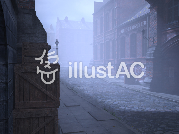 古いロンドンの街並みの風景(霧)のイラスト
