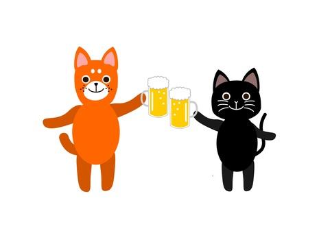 개와 고양이가 맥주로 건배