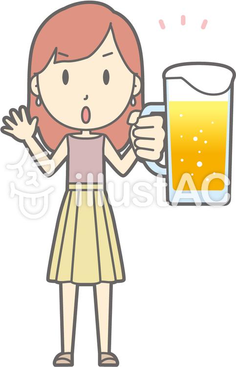 私服OLb-ビール注意-全身のイラスト