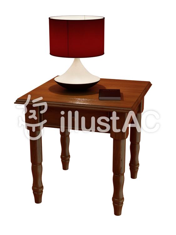 ランプとエンドテーブルのイラスト