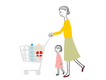 Women shopping with children