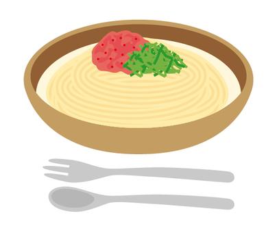 Pasta soup pasta mentaiko cream