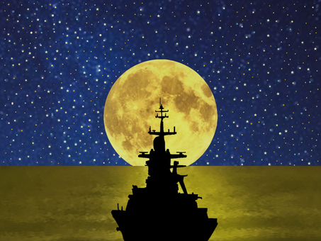 Moon and warship
