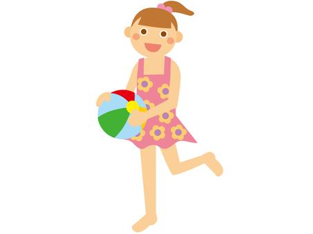 Girl _ Beach ball