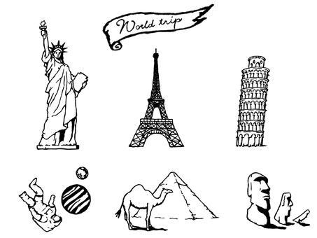 World travel monochrome