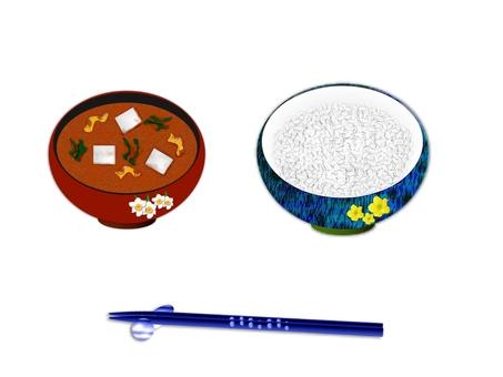 Rice and miso soup E0394