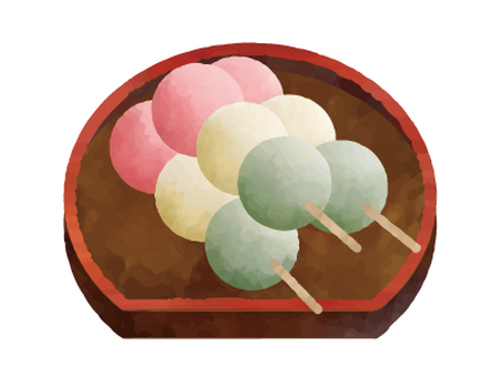 Three-color dumpling watercolor style