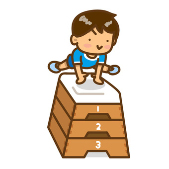A boy flying a jump box