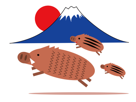 Pig and Mt. Fuji