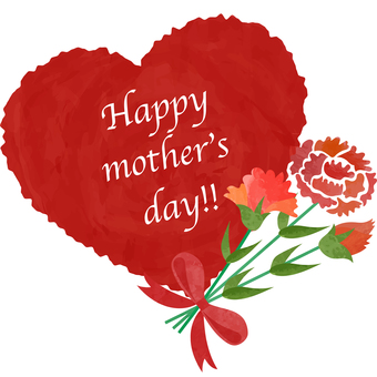 Illustration of Mother's Day _ Heart _ Red _ Frame