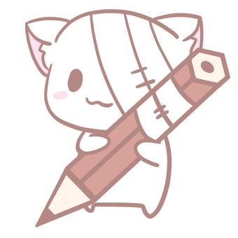 用鉛筆寫字的貓的插圖