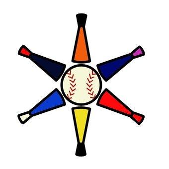 Illustration of baseball bat and ball