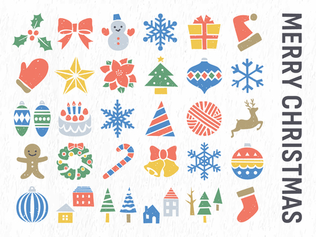 Christmas stamp style icon illustration