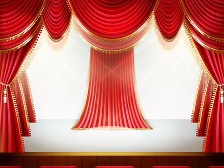 Lighting inside the red curtain White stage · white wall