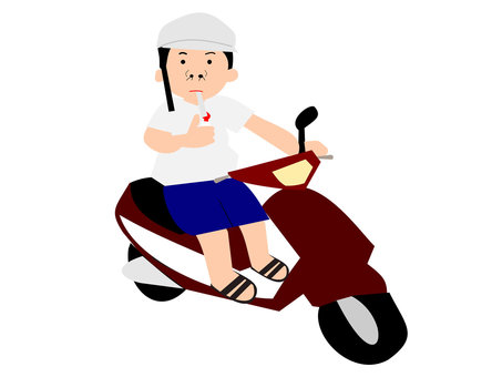 Uncle riding a scooter